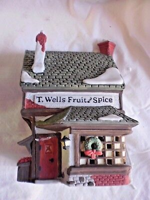 Dept 56 T. Wells Fruit And Spice Shop #59242 Dickens Heritage Village Collection