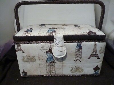 Medium Craft Padded Brown/cream Sewing Box New With Handle And Compartment Box