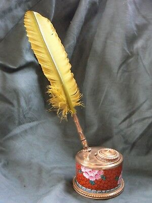 Unusual Late 19Th Century French Inkwell & Plume Feather Brass Ceramic Limoges