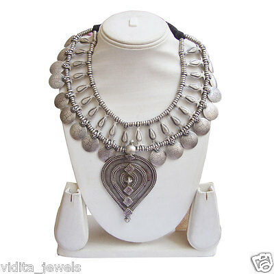 Vintage Antique Look Collectible Tribal Rajasthani Old Silver Necklace