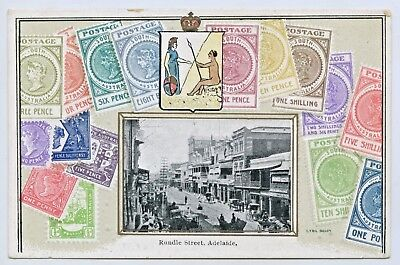 C1910 Embossed/novelty Postcard Sa Stamps/rundle St Adelaide South Australia H35