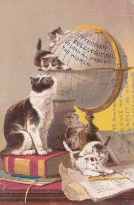Vintage Victorian Trade Card  DR. THOMAS ECLECTRIC OIL - WORLD GLOBE / 5 KITTENS