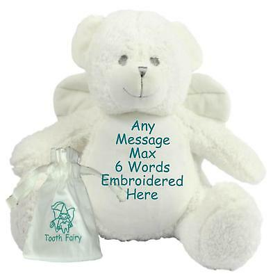 """Personalised Teddy Bear 15"""" Angel Tooth Fairy Friend + Pouch Birthday New Baby"""