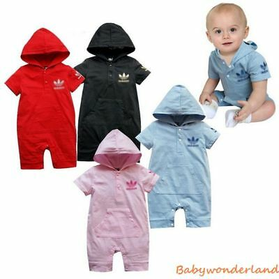 Baby Boys Girls Short Sleeve Cotton Hood Romper Jumpsuit One Piece Size 00,0,1,2
