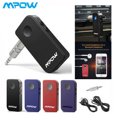 Mpow Wireless Bluetooth Car Receiver Audio Stereo Music Adapter AUX A2DP 3.5mm