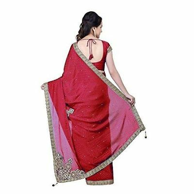 Women Embroidered Design Pleated Red  Color Saree with Blouse Piece D85