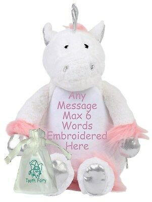 """Personalised Teddy Bear 16"""" UNICORN Tooth Fairy Friend + Pouch Birthday New Baby"""
