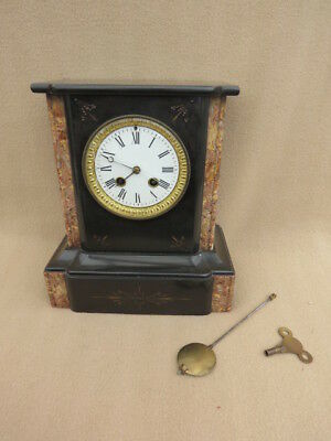 Antique French Slate And Marble Bell Strike Clock For Spares Repair