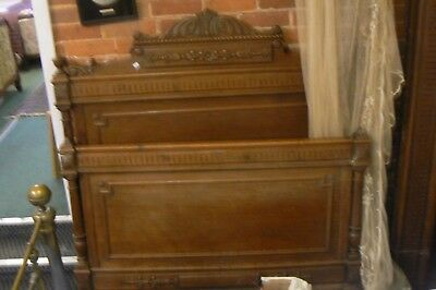 Gorgeous Antique French Carved Soild Oak Double Bed