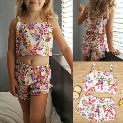 Baby Girls Kids Tops T-shirt Floral Shorts Pants Summer Outfits 2PC Set Clothes