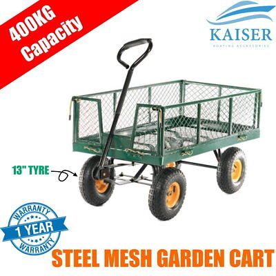 500kg Steel Mesh Garden Cart Wagon Trolley Farm ATV Trailer