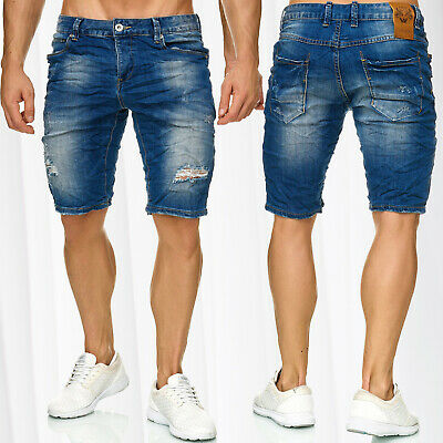 Bermuda UOMO JEANS SHORTS Stretch Denim breve Capri Pantaloni Estate 029 Bianco