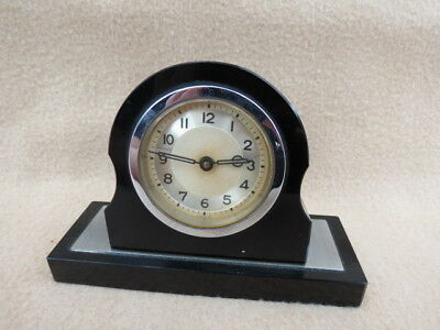 Small Vintage Art Deco Black Glass  30 Hour Spring Driven Clock For Tlc