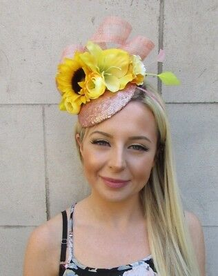 Yellow Rose Gold Flower Pink Feather Hat Hair Fascinator Races Ascot Sequin 5834