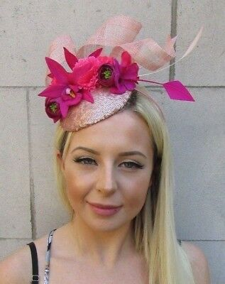 Fuchsia Hot Pink Rose Gold Flower Feather Hat Hair Fascinator Races Ascot 5835