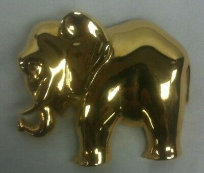 Vintage Bold Brooch Full Elephant Figure Pin Bright Shine~Gold Tone Large Animal