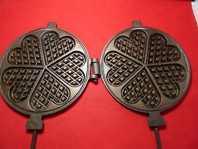 Restored Vintage Cast Iron Fireplace Heart French Waffle Maker