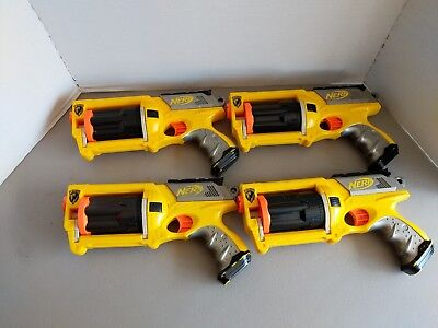 Lot of 4 Yellow Nerf N-Strike Maverick REV-6 Revolver Dart Gun - FREE SHIPPING