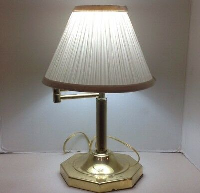 Brass And Maroon Swing Arm Table Lamp With Pleated Fabric Shade