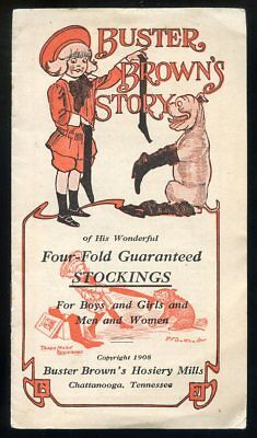 1908 BUSTER BROWN Four-Fold Guaranteed Stockings Adv. Booklet w Tige & Mary Jane