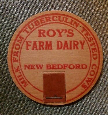 1919 Roy's Farm Dairy Milk Cap, New Bedford, MA, from tuberculin tested cows