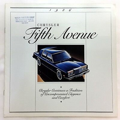 Car Auto Brochure 1986 Chrysler Fifth Avenue 8 Pages