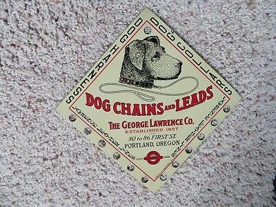 Rare Antique George Lawrence Dog Metal Lithograph Sign