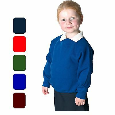 Boys Girls Unisex Jumper Sweatshirt Crew Round Neck School Uniform Ages 1-14