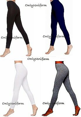 Ladies Girls Ankle Length Stretch Fit Cotton Legging Non See Through