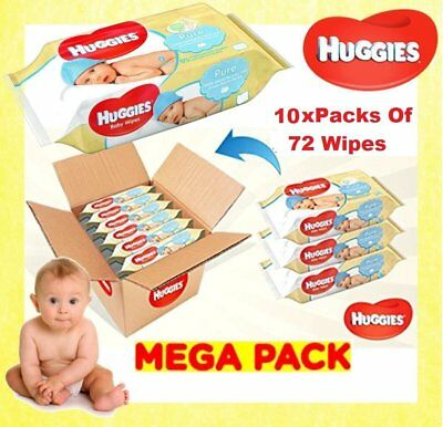 Huggies Pure Baby Wipes (Pack of 10 x 72 Wipe - Total 720 Wipes)-Brand New