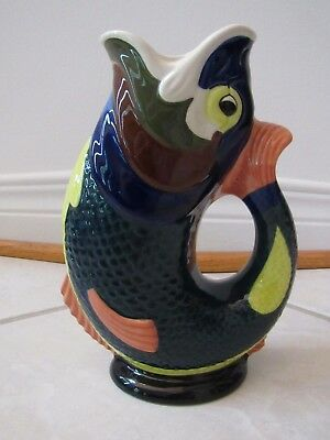 Vintage Multi Color Gluggle Jug Fish Pitcher or Vase by Wade Ceramic 8.5""