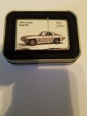 ZIPPO 1966 CORVETTE STING RAY Lighter. Black sketch on white. NEW!  No scratches