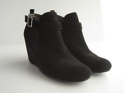 9e0f7cc28 Tesori Black Suede Ankle Booties Hidden Wedge Boots Womens size 6.5 M US