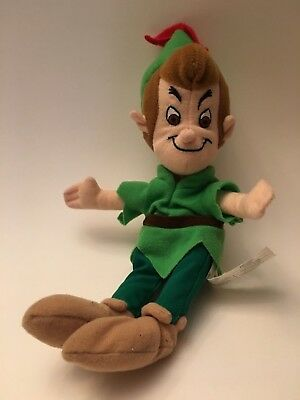 Peter Pan Plush Beanie Toy Doll Green Outfit Feather 11 Inch Beanbag Plush