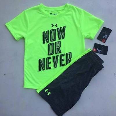 """Boy's Size 4-5 Under Armour """"now Or Never"""" Shirt & Gray Shorts Outit Nwt"""
