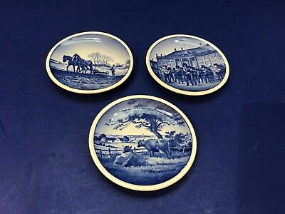 "Lot of 3 Denmark Miniature Plates Butter Pats 3 1/4"" Blue Dansk 64 69 76 2010"