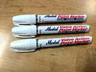 New 3 PACK MARKAL Valve Action Paint Marker WHITE-96820- Free Shipping