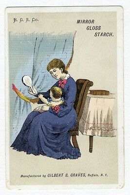 Hartford CT MIRROR GLOSS STARCH Victorian Trade Card Mother & Baby Haynes & Co