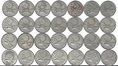 Canada Silver Quarter Dollar 25 cent collection 1937-1964  28 coins  1 each year