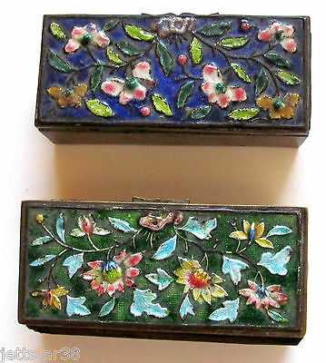 2 Antique Chinese Hand Painted Cloisonne Enamal Metal Stamp Boxes Roses Asian