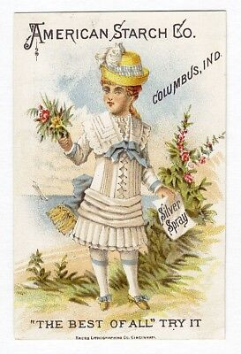 Columbus Indiana AMERICAN STARCH Victorian Trade Card 1880's Little Girl Flowers
