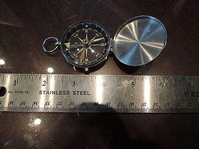 Vintage Compass Pocket Eaco Luster Chrome Finish Pendant Push Button To Block