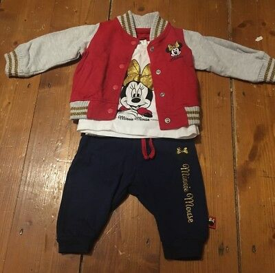Disney Minnie Mouse baby girls tracksuit and top set football jacket 0-3 months