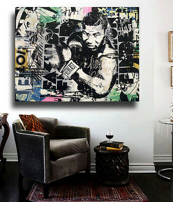 Banksy Mike Tyson Street Art Collage 36x24 Canvas Print Collage Graffiti NYC