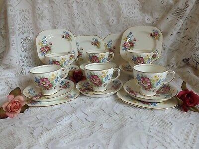 Beautiful Vintage Bone China Old Royal Pink And Blue Floral 18 Piece Tea Set