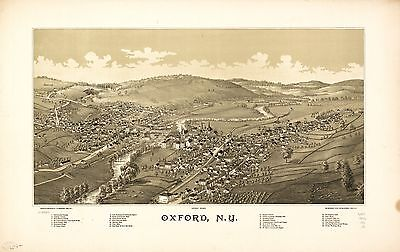 12x18 inch Reprint of American Cities Towns States Map Oxford New York