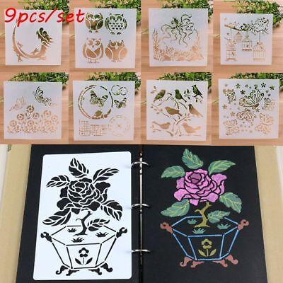 9PCS/SET Scrapbooking Layering Stencils Wall Painting Embossing Template