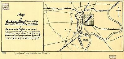 12x18 inch Reprint of American Military Map Jackson Mississippi Siege