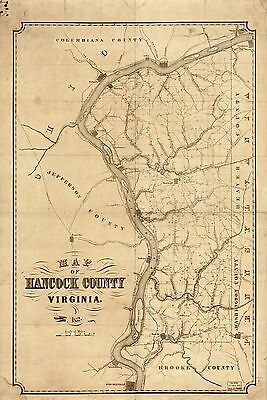 12x18 inch Reprint of  USA Cities Towns States Map Hancock County West Virginia