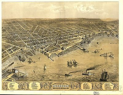 12x18 inch Reprint of American Cities Towns States Map Muskegon Michigan